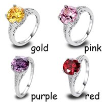 Wholesale Citrine Amethyst Jewelry - Lab AAA CZ Gems Jewelry Lab Garnet Citrine Amethyst Silver 18K White Gold Plated Fashion Ring Size 6-12 Free Shipping Wholesale