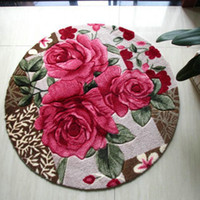 tapetes vermelhos venda por atacado-Tapete redondo rosa vermelha / Shaggy tapete para tapetes de quarto / tapetes para sala de estar Tapete tapete / cor de creme / vermelho