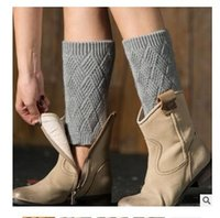 Wholesale Crocheted Boots For Girl - Women Leg Warmers Knit Winter Crochet Knitted Boot Cuffs Toppers Short Acrylon Diamond Cuffs for Girls Women 5 Styles Free Shipping