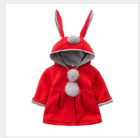 Wholesale Girls Kids Warm Jacket - Cute Rabbit Ear Hooded Girls Coat New Spring Top Autumn Winter Warm Kids Jacket Outerwear Children Clothing Baby Tops Girl Coats