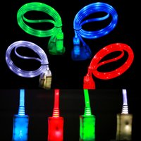Wholesale Light Up Micro Usb Charger - LED Visible Micro USB V8 Charger Cable for Samsung S4 S5 S6 Edge Note4 Note5 Data 4 Colors Light Up 1M Flat Cord