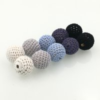 Wholesale Crochet Teething - DIY shade grey Chunky wooden crochet beads teething nursing round beads,knitted bead wooden beads handmade 40 PCS pattern WC014