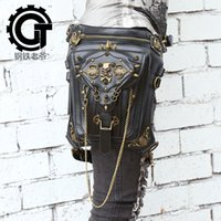 Wholesale Leather Leg Bag Men - Punk Skull Leather Waist Bag Women Men Gothic Casual Mobile Phone Waist Packs Rock Travel Rivet Leg Holster Bags N6