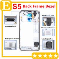 galaxy s5 orta çerçeve toptan satış-Samsung Galaxy S5 I9600 G900 G900A G900T G900P G900F G900H G900H G900I Orta Çerçeve Arka Arka konut parçaları ile Gümüş Yedek Parçalar