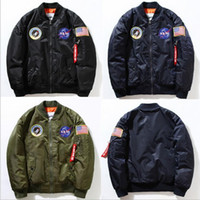 Wholesale Coat Army Fashion For Men - NEW 2016 Flight Pilot Jacket Bomber Ma1 Jackets For Men Winter Jackets Nasa Air Force Jackets Embroidery Baseball Military Coats