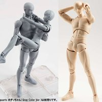 Wholesale Female Figures - SH.Figuarts 15cm Sketch Body Kun Body Chan DX Set Movable Male\Female PVC Action Figure Collectible Model Toys Model Solid Black
