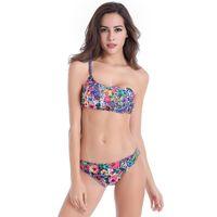 Wholesale Resort Swimwear - The new red floral bikini swimsuit sexy gather split was thin BIKINI Swimwear Beach Resort