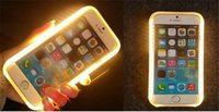 Pour iphone 6 7 7Plus LED Light Up Cell Phone Case Fill Self Machine Photographie Luminous Phone Cover Case with Retail Package