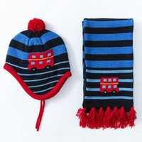Wholesale Wholesale Crochet Car Hats - Wholesale 2016 Cotton Baby Hat &Scarf Set Car Jacquard Baby Crochet Baby Beanies Kids Fall Winter Baby Cap Handmade Windproof Earmuffs Cap