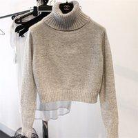 Wholesale Thermal Turtleneck Women - Wholesale- Turtleneck sweater women thickening female short design all-match thermal sweater pullover slim basic shirt