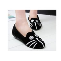 Wholesale Cat Flat Heels - Women's Shoes loaters cartoon cat and dog suede animals casual shoes autumn flats wholesale big size