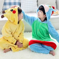 Wholesale Pajamas Teenage - Hot Halloween Costumes Children Poke Pikachu Costumes Kids Girls Boys Warm Soft Cosplay Dress Pajamas One Piece Anime Sleepwear
