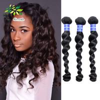 Wholesale Real Hair Online - Malaysian Virgin Hair Loose Wave Real Human Hair Malaysian Loose Wave 3 Bundle Deals Wholesale Black Hair Extension 100g Lot Online Coupon