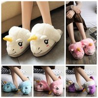 Wholesale Pair Cosplay - Cute Unicorn Plush Cotton Indoor Slippers Women Kids Cosplay Xmas Gifts Winter Warm Animal Shoes 2pcs pair OOA3148