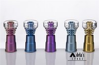 Wholesale Wholesale Colored Dishes - Colorful Titanium Nail With Quartz Dish 2 In 1 Anodized Colors 14mm & 18mm Female Joint Colored Domeless DHL 328