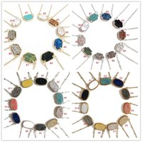 Wholesale Wholesale Druzy Crystal Pendants - Trendy Druzy Drusy Stone Necklace Silver Gold Plated Oval Hexagon Geometry crystal Necklaces Best for Lady Various 10 Colors