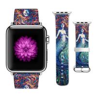 cm iphone оптовых-Оригинальный дизайн Русалка Pattern кожаный Спортивный ремешок для Apple Watch браслет 38 мм 42 мм для Iwatch ремешок подарок для IPhone Чехол