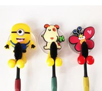 Wholesale Hello Bathroom - Cute minion Hello Kitty Cartoon suction cup toothbrush holder hooks bathroom set accessories Eco-Friendly