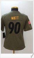 Nouveau Salut au service Pittsburgh Femmes # 90 T. J. Watt American Football College Chemises Broderie Cousue Uniformes Sports Team Pro Jerseys