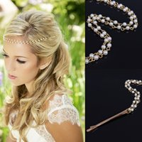 Wholesale Hair Clips Barettes - Women New Fashion Gold Plated Hair Clips Barettes Free Shipping Wholesale Elegant 3-layer Imitation Pearl Chains Wedding Hair Jewelry SHR380