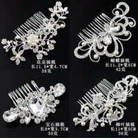 Wholesale crown tiara hair combs - Hot Women Girls Hair Brush Bridal Wedding Tiaras Hair Comb Sparkle Bride Accessories hair accessories free shipping