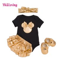 Wholesale Baby Shoes Golden - 2017 Baby Girl Clothes 4pcs Clothing Sets Black White Cotton Rompers Golden Ruffle Bloomers Shorts Shoes Headband for baby Newborn Jumpsuits