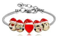 Wholesale Enamel Bangle Alloy - 2017 Newest Fashion Christmas Jewelry Gift 5 Beads Metal Emoji Beads DIY Charms Bracelet Gold Expression Bangle Enamel Emoji Faces Bracelet