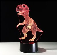 Vente en gros - Nouveauté 3D Dinosaur Desk Light LED Night Light RGB USB LED Table acrylique Lampe 3D Illusion Dinosaur pour Home Decor Touch Switch