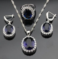 Wholesale Huge Earring Jewelry - White Topaz Huge Blue Sapphire 925 Sterling Silver Jewelry Set Necklace Pendant Ring Earring For Women Free Jewelry Box