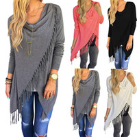 Wholesale Plain Shirts Women - HOT ideacherry Long Sleeve Blouse Fall New Design Fashion Casual Women's Long Tassel Slash Blouse Tops Shirt Large Size women Shawls