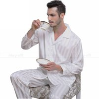 Wholesale Pajama Shirt Satin - Wholesale-Mens Silk Satin Pajamas Set Pajama Pyjamas PJS Sleepwear Set Loungewear S,M,L,XL,2XL,3XLL,4XL Plus _Free Shipping