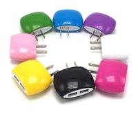 Wholesale Cute Iphone Plugs - 5V 2A Dual USB Wall Chargers Cute Break 2 ports EU US Plug AC Power Adapter Home Travel Wall USB Charger for iPhone 5 6 plus Samsung