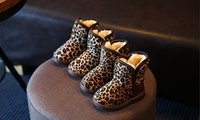 Wholesale Children Leopard Snow Boots - 2016 fashion leopard girl snow boots 26-30 yards cheap baby warm winter boots children shoes free shipping 5pair 10pcs B1