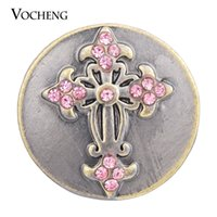 Wholesale Bronze Cross Jewelry - VOCHENG NOOSA Snap Jewelry 18mm White Pink Cross Metal Bronze Button Vn-1373