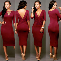Wholesale Tight Pencil Skirts Sale - 2016 HOT SALE Package Hip Slim Dress Deep V Neck Hight Waist Tight Pencil skirt long sleeve Europe Style Solid Color Dresses