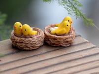ingrosso pc miniatura-20 pz / mini nido con uccelli / miniature / bella carina / fairy garden gnome / moss terrarium decor / artigianato / bonsai / fai da te casa delle bambole