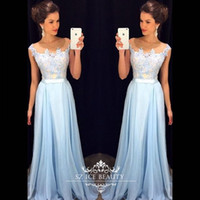 Wholesale Cheap Dress Fast Shipping - Cheap Fast Shipping Long Bridesmaid Dresses 2016 Illusion Sheer Scoop Cap Sleeves Applique Light Blue Women Dress Gowns Custom Made