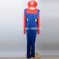 Wholesale Kids Latex Costume - pirate Children Funy Cosplay Super Mario Luigi Brothers Plumber Fancy Dress Up Party Cute Kids Costume CO18776857