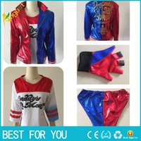 Hot 2016 NEW Film Suicide Squad Harley Quinn weibliche Clown Cosplay Kleidung halloween anime Manteljacke einen Satz Uniform
