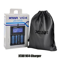 Wholesale Battery Charger Lcd Display - Original XTAR VC4 Intellichage battery charger with LCD display for 18350 18650 26650 3.6V 3.7V Li-ion Ni-MH Ni-CD batteries