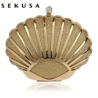 Fashion Hollow Out Style Mulheres Saco de noite Shell Design Diamonds Mixed Candy Color Day Clutch With Chain Shoulder Purse