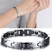 Wholesale Tungsten Carbide Energy Bracelet - Couple Jewelry Health Energy Magnetic Hematite Tungsten Carbide Bracelet For Men Women Jewelry Valentine Day Gifts B864S