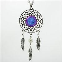 Wholesale Wholesale Om Jewelry - 2016 Trendy Style Dreamcatcher Pendant Purple Blue Om Necklace Flower of Life Jewelry Dream Catcher Necklace DC-00157