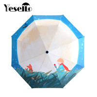 Wholesale umbrella frames - Yesello little Le Petit Prince Three Folding Umbrella 8 Rib Wind Resistant Frame For Women