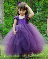 Wholesale Girls Full Length Pageant Dresses - 2017 Cute Pretty 3 Colors Green purple White Flower Girls Dresses Wedding Princess Girl Pageant Gowns Full Length Tulle Kids Dresses MC0388