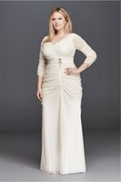 Wholesale Ruching Sleeve Wedding Dress - 3 4 Illusion Sleeve Wedding Dress with Ruching 061925671W V-neck Sheath Beading Plus Size Bridal Dress