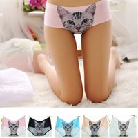 Wholesale Cute Sexy Girls Bikini - Wholesale-Sexy Underwear 3D Cat Printing Pussy Briefs Girl Cute Panties Boyshorts Comfortable Sex Thongs G-string Sexy Lingerie For Female