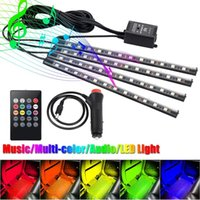 Wholesale Car Rhythm Light - 4Pcs Car Atmosphere Lamp With Remote Control RGB LED Strip Lights Auto Decoration Cars Interior Music Rhythm Light DXY8