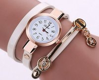 Wholesale Christmas Dresses Low Price - New Fashion Style Leather Casual Bracelet Watch Wristwatch Women Dress Watches Long Leather Bracelet Watch Good Quality Low Price