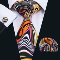 Wholesale Men Wide Neck Ties - New Arrival Wedding Tie with Cufflinks Hanky Men's Classic Stylish Black Black Orange Flower Tie Formal Business Wide Tie N-1277